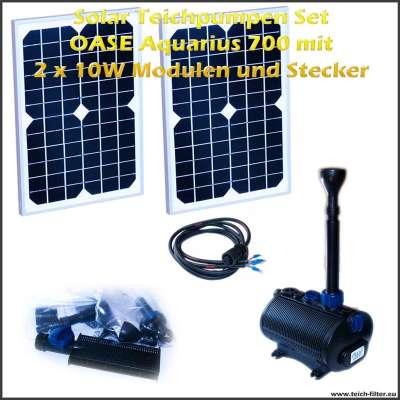 Solar Teichpumpen Set 12V 700 mit 2 Stück 10 Watt Modulen