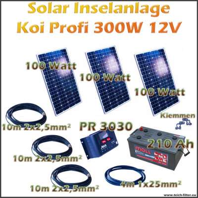 300w 12v solar inselanlage profi koi als komplettset g nstig im online shop kaufen. Black Bedroom Furniture Sets. Home Design Ideas