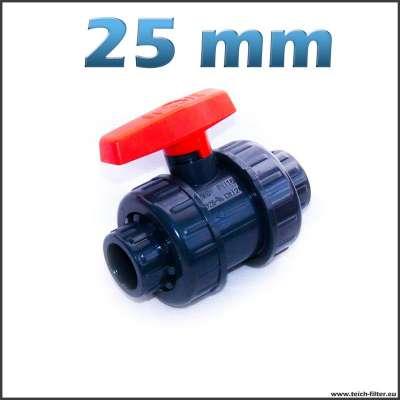 Kugelhahn aus PVC Kunststoff mit 25 mm Klebemuffen für Teichwasser