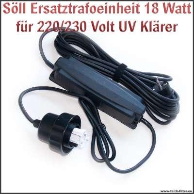 Söll Trafo Ersatzteil 20334 mit 18W und 220/230V für UV Klärer am Titan Teichfilter