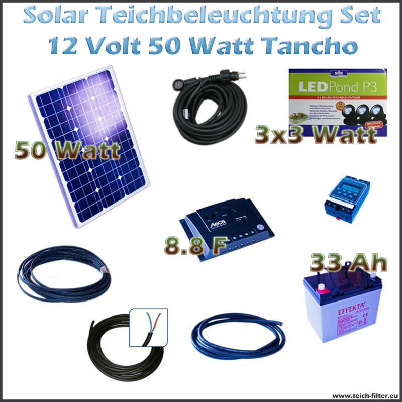 50w 12v solar set f r led teichbeleuchtung 9w mit akku tancho. Black Bedroom Furniture Sets. Home Design Ideas