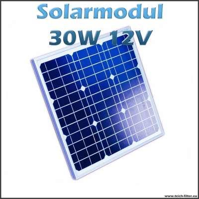 30W 12V Solarmodul monokristallin für Garten und Wohnwagen
