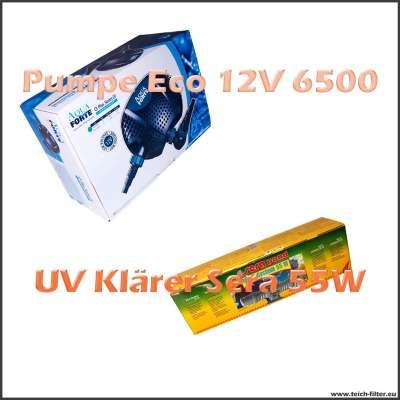 Set mit Teichtechnik Sera UV Klärer 55W und 12V Pumpe Eco O 6500