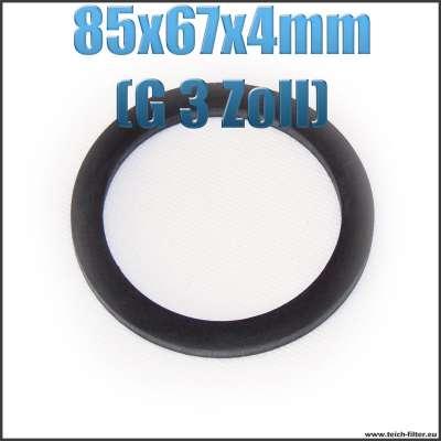 Dichtung 85x67x4mm in schwarz für G 3 Zoll Innengewinde bei Verschlusskappen und Überwurfmuttern als Gummiring
