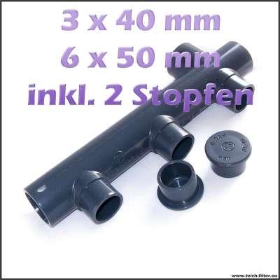 3-fach Verteiler aus PVC Kunststoff für Wasser