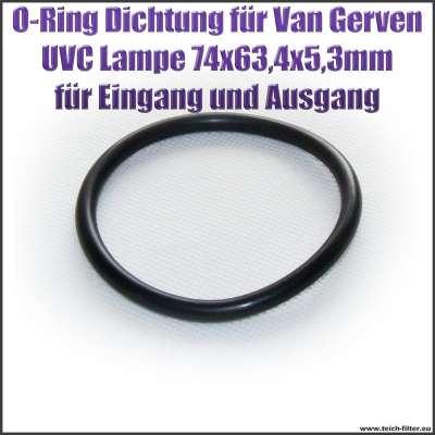 O-Ring Dichtung 74 x 63,4 x 5,3 mm für 78 mm Flansch an Van Gerven UVC Lampen Koi Professional
