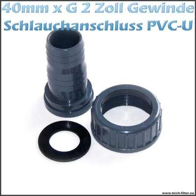 VDL Schlauchtülle mit G 2 Zoll Innengewinde, Dichtung und 40-43mm Schlauchanschluss
