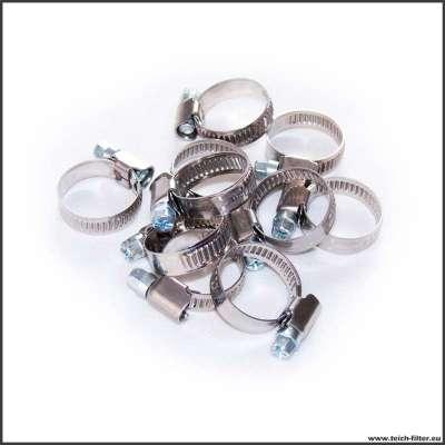 10 Stück Spiralschlauchschellen im Set W2 Edelstahl 16-25 mm