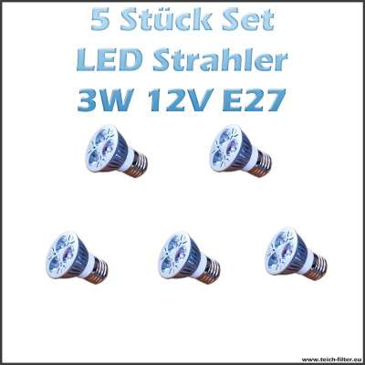 5 Stück Set 3W 12V LED Strahler (Spots) Warmweiss mit E27 Fassung für Solaranlagen günstig kaufen