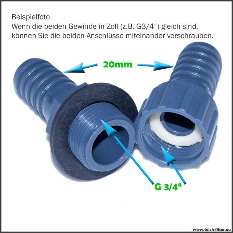 20 mm Schlauchanschluss mit Überwurfmutter gerade