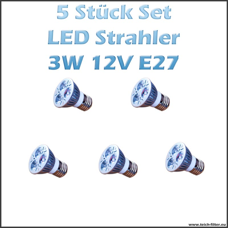 5 st ck set led strahler spots 3w 12v e27 warmweiss f r solaranlage g nstig kaufen. Black Bedroom Furniture Sets. Home Design Ideas