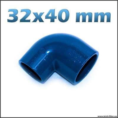 32 x 40 mm Winkel 90 Grad aus PVC für Wasser