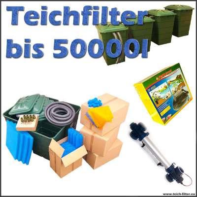 Teichfilter Komplettset bis 50000 Liter Wasser mit 4 Regentonnen, Filtermaterial, Anschlüsse, Filterpumpe Sera PP 6000 und 40 Watt UVC Klärer Van Gerven für Koi
