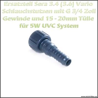G 3/4 Zoll 15x20mm Sera Vario Schlauchstutzen als Ersatzteil 3.4 oder 3.8 für 5W UVC Klärer