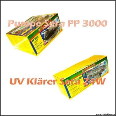 Technik Set Sera mit Pumpe PP 3000 und UV Klärer 24 Watt