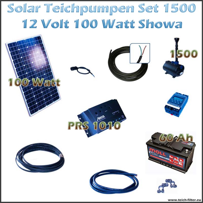 100w 12v solar teichpumpe mit akku als set f r gartenteich 1500 showa. Black Bedroom Furniture Sets. Home Design Ideas