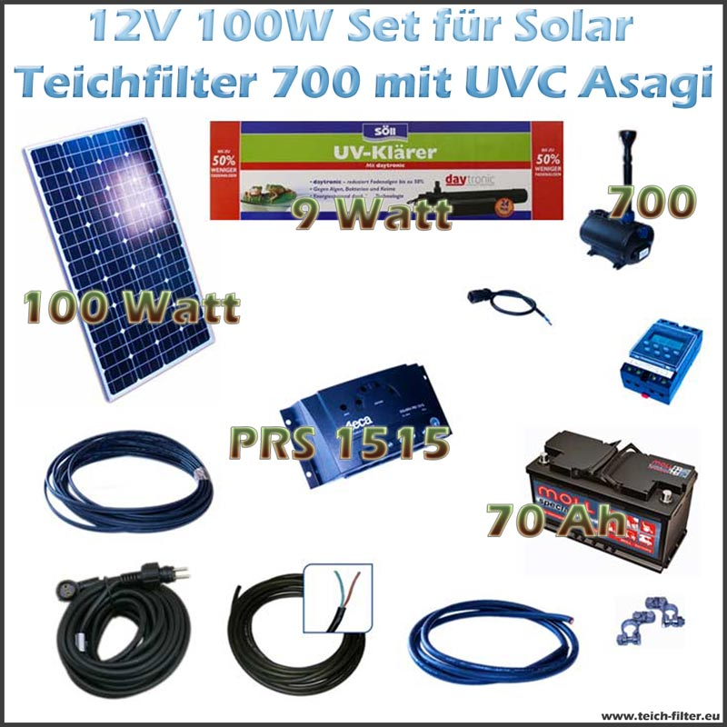 100w 12v set f r solar teichfilter mit uv und teichpumpe. Black Bedroom Furniture Sets. Home Design Ideas