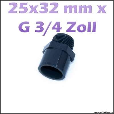 25x32 mm Gewindemuffe aus PVC Plastik mit G 3/4 Zoll Aussengewinde