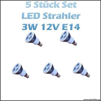 5 Stück Set 3W 12V LED Strahler (Spot) Warmweiss mit E14 Fassung für Solaranlagen günstig kaufen