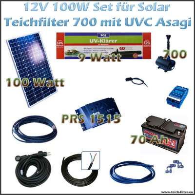 100w 12v set f r solar teichfilter mit uv und teichpumpe 700 asagi. Black Bedroom Furniture Sets. Home Design Ideas