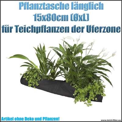 Pflanztasche 15 x 80 cm textil länglich oval bogenförmig für Teichpflanzen in der Uferzone
