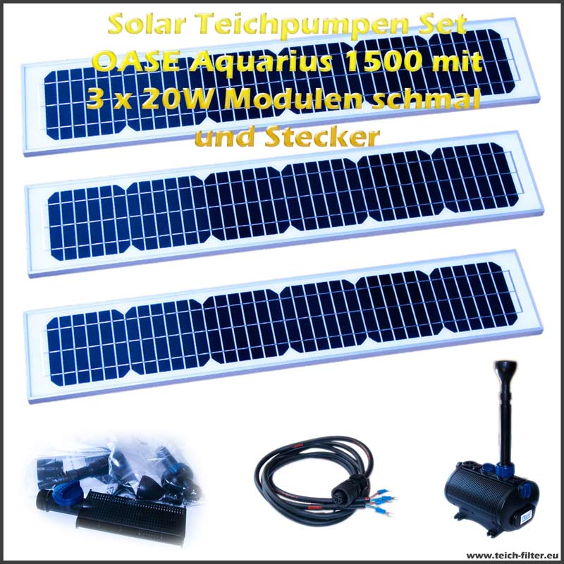 12v solar teichpumpen set 1500 mit 3 x 20w modulen schmal. Black Bedroom Furniture Sets. Home Design Ideas