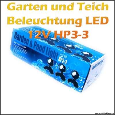 Garten- und Teichbeleuchtung HP3-3 12V mit Dämmerungsschalter