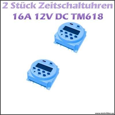 2 Stück Set digital programmierbare Zeitschaltuhren 12V 16A 618 für Aufputz Montage als Timer