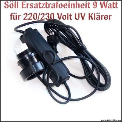 Söll Trafo Ersatzteil 20332 mit 9W und 220/230V für UV Klärer am Titan Teichfilter