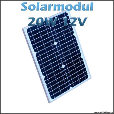 solarmodul 20w 12v monokristallin f r garten wohnmobil. Black Bedroom Furniture Sets. Home Design Ideas