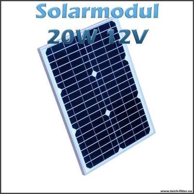 20W 12V Solarmodul monokristallin für Garten, Wohnmobil und Solarspringbrunnen