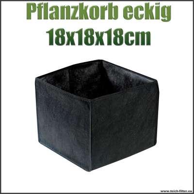 Pflanzkorb quadratisch textil für Teichpflanzen mit 18 x 18 x 18 cm am Gartenteich