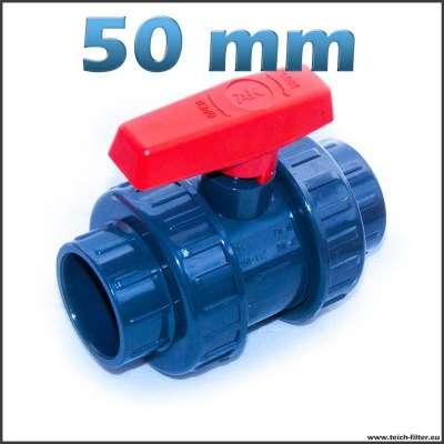 Kugelhahn aus Kunststoff mit 50 mm Klebeanschluss für Teich, Garten und Industrie