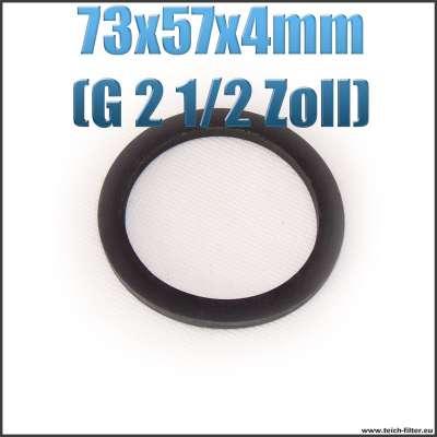 Dichtung 73x57x4mm in schwarz für G 2 1/2 Zoll Innengewinde bei Verschlusskappen und Überwurfmuttern als Gummiring