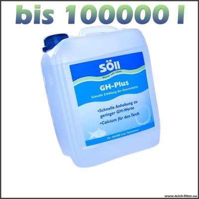 Gesamthärte für 100000 l Teiche mit 5 l Söll GH-Plus erhöhen