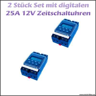 2 Stück Set Zeitschaltuhren 12V 25A für Hutschiene und Aufputz digital programmierbar