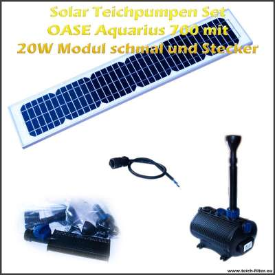 12V Solar Teichpumpen Set 700 mit 20 Watt Modul schmal
