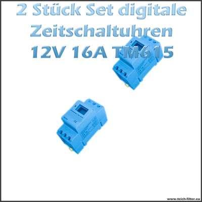 2 Stück Set 12V Zeitschaltuhren 16A 615 für Hutschiene mit digital Display