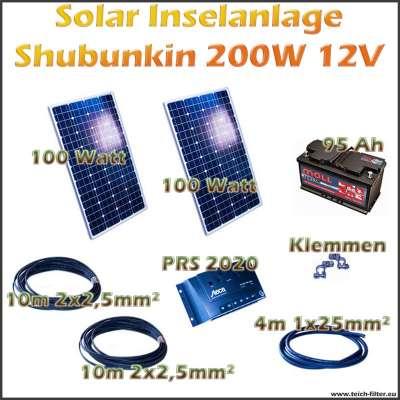 Solar Inselanlage 200W 12V Shubunkin für Garten und Haus als Komplettset