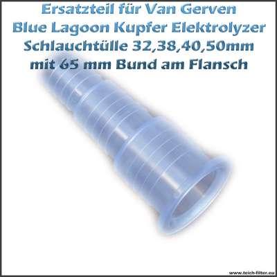 65mm Schlauchtülle für 32, 38, 40 und 50mm Schläuche am Kupfer Elektrolyzer von Van Gerven