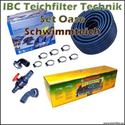 Oase 12V Teichtechnik Set klein für Schwimmteiche und IBC Filter bis 150000 Liter