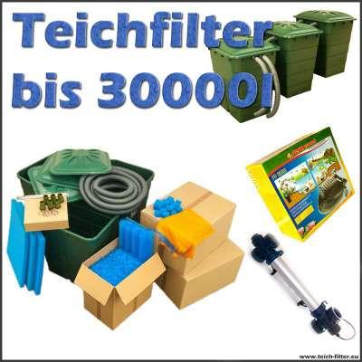 Teichfilter Set 30000 komplett mit Filtermaterial, Anschlüsse, Sera Pond PP 6000 Teichpumpe und UVC Klärer Van Gerven mit 40 Watt für Koi