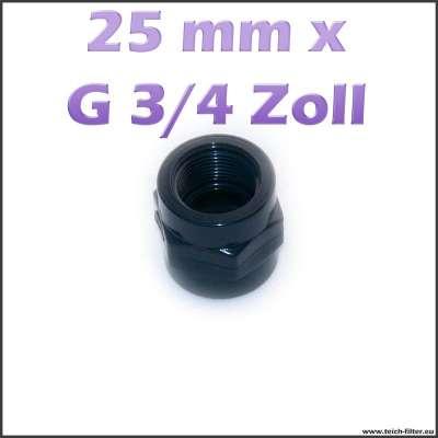25 mm x G 3/4 Zoll Gewindemuffe aus PVC