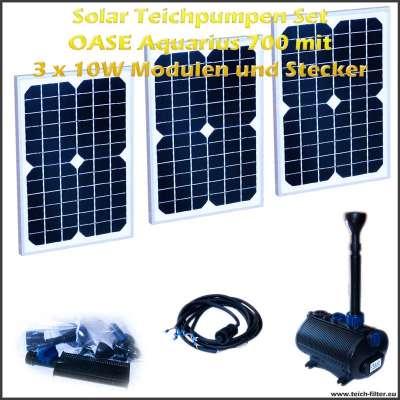 Solar Teichpumpen Set 12V 700 mit 3 Stück 10 Watt Modulen