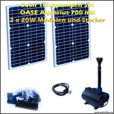 Solar Teichpumpen Set 12V 700 mit 2 Stück 20 Watt Modulen