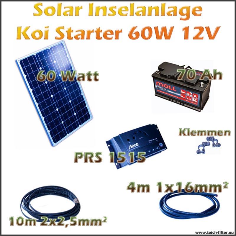 60w 12v solar inselanlage koi starter f r teich und. Black Bedroom Furniture Sets. Home Design Ideas