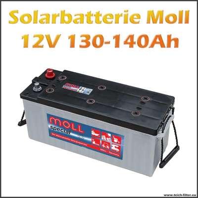Günstige 12V Solarbatterie mit 130-140Ah Kapazität von Moll für Solar Inselanlagen im Gartenhaus