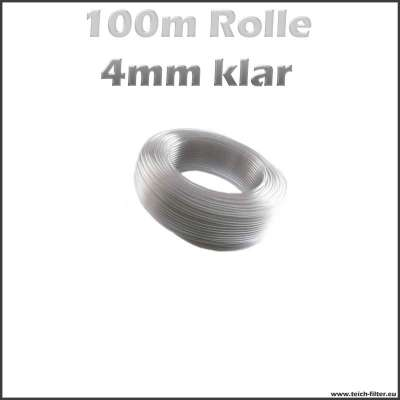 100 m Rolle Aquariumschlauch 4 mm in klar transparent