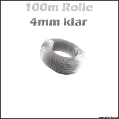 100 m Rolle Aquariumschlauch 4 mm in klar transparent