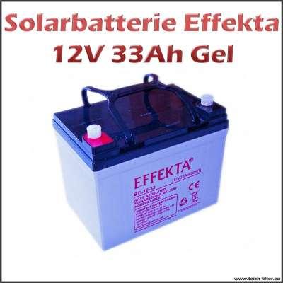 Solarbatterie Gel 33Ah 12V Effekta für Solar Inselanlagen im Garten oder Wohnmobil